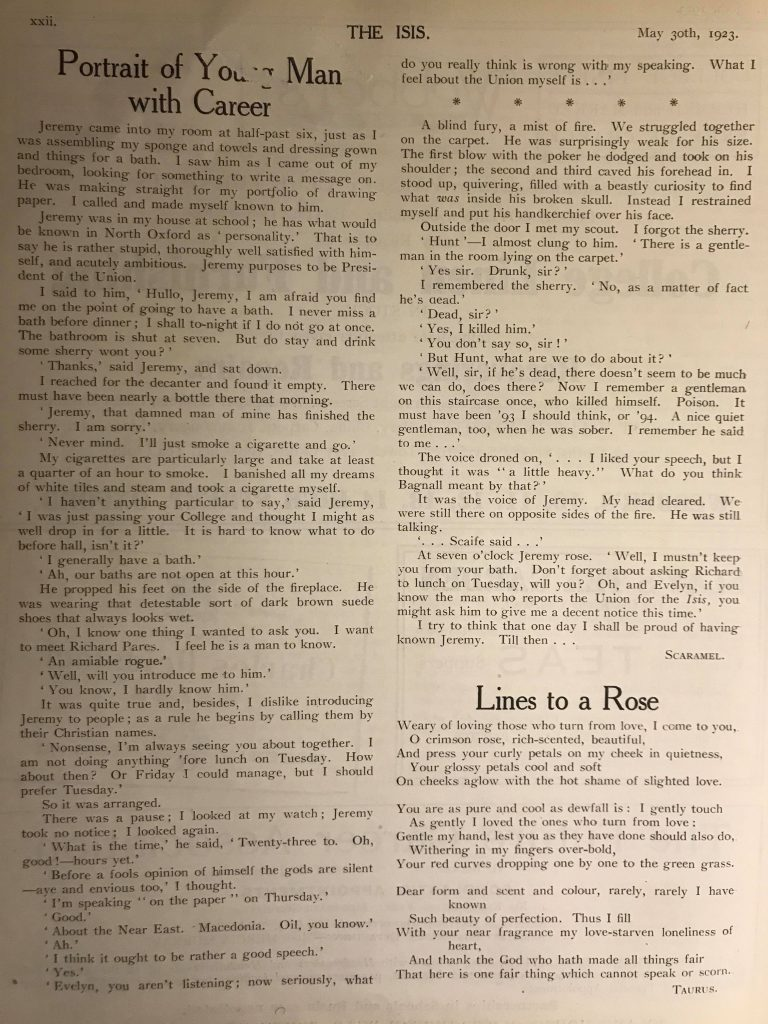 Through the Archives #1: Evelyn Waugh and a Union hopeful