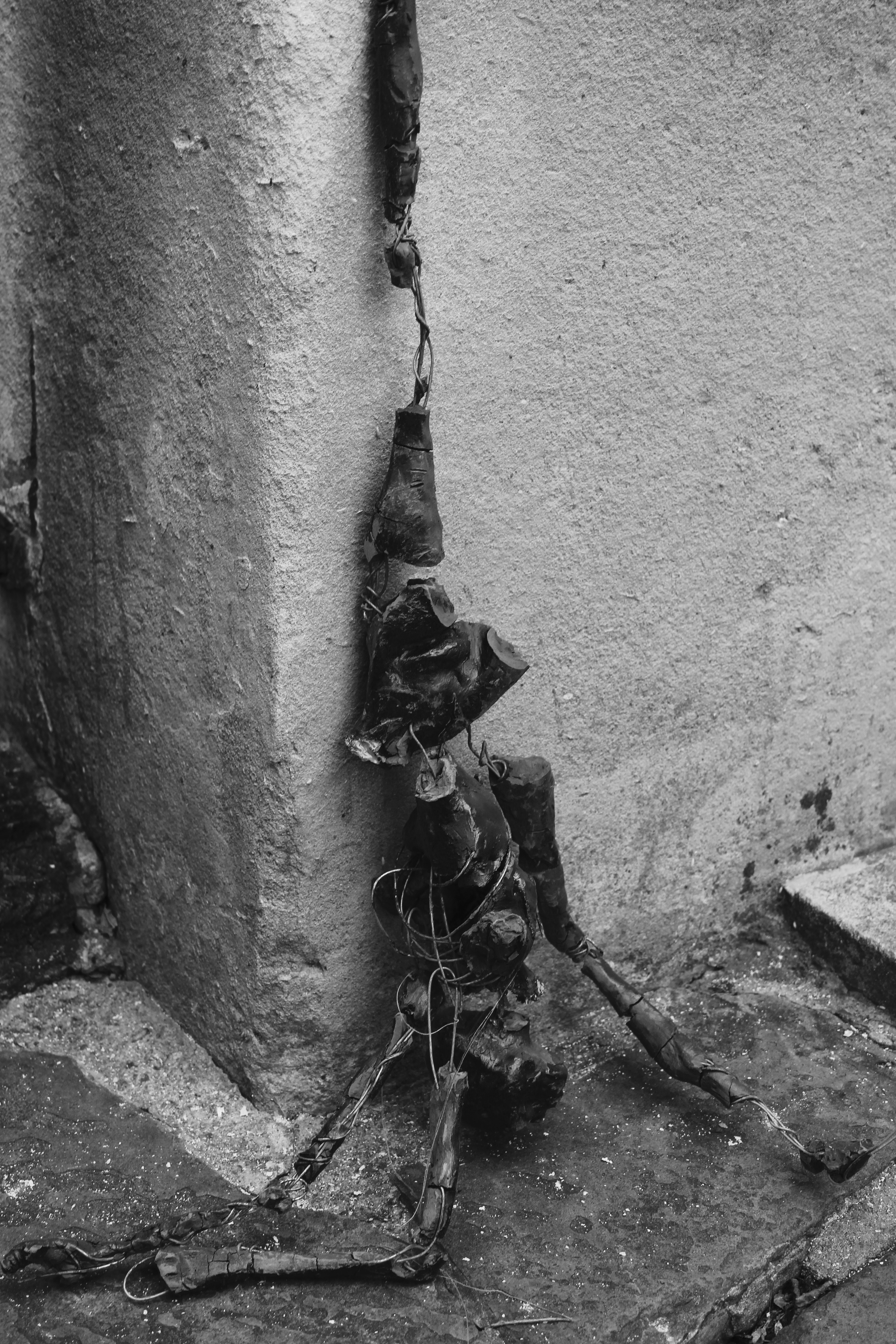 Digital Photograph, Bug Splat, 47cm wire, clay (unfired) , wooden frame, chicken-wire mesh.