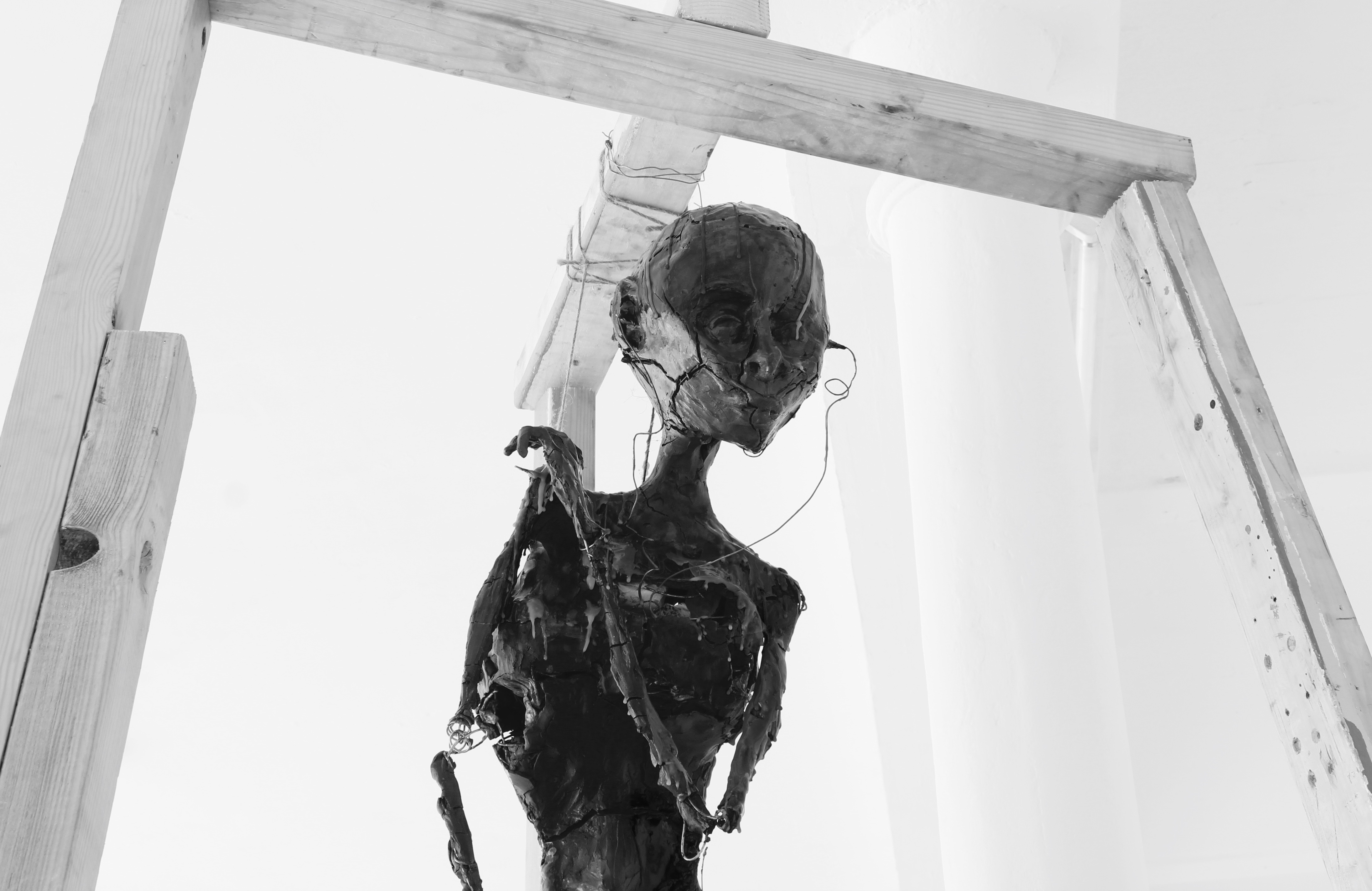 Digital photograph of Untitled, a 110cm wire, clay (unfired) and wax sculpture, wooden frame.