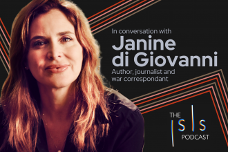"""The Isis Podcasts logo in the top right corner, a headshot of Janine di Giovanni to the left, the text """"In conversation with Janine di Giovanni; Author, journalist and war correspondant"""" to the right, against a black-and-neon background."""