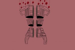 A sketch of parts of armour connected with red strings with roses, against a dark pink background.
