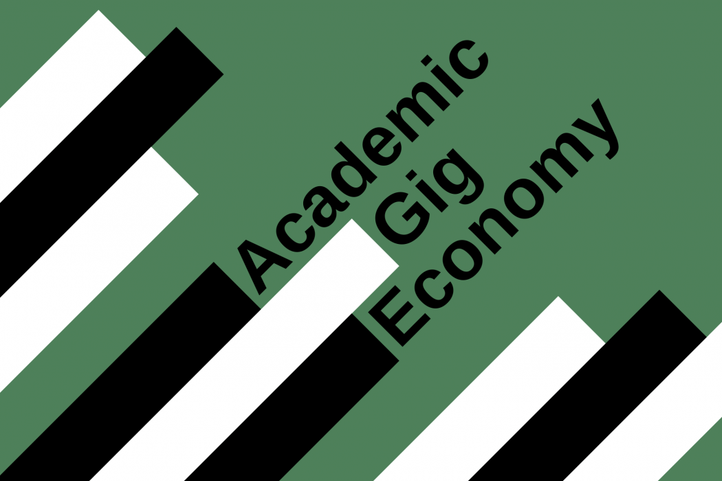 """""""Academic Gig Economy"""" in bold type next to white and black lines, on a dark green background."""