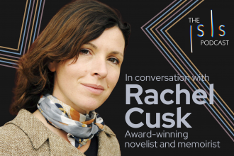 """The Isis Podcasts logo in the top right corner, a headshot of Rachel Cusk to the left, the text """"In conversation with Rachel Cusk; award-winning novelist and memoirist"""" to the right, against a black-and-neon background."""