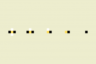 Black, yellow, and white dots decreasing in size from left to right, against a cream background.