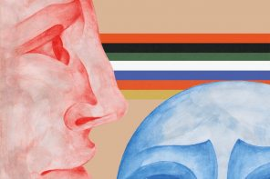 Two drawings of human faces (one red and one blue) against a beige background, and some colourful lines.