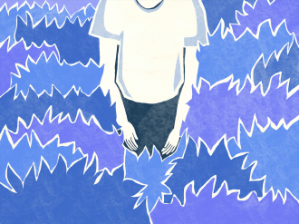 A person's torso surrounded by blue, spiky abstract shapes