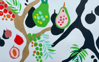 an abstract paper collage on fruit in trees