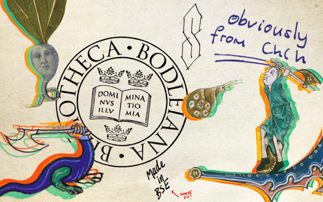 A collection of colourful, medieval looking marginalia surrounding a Bodleian library stamp.