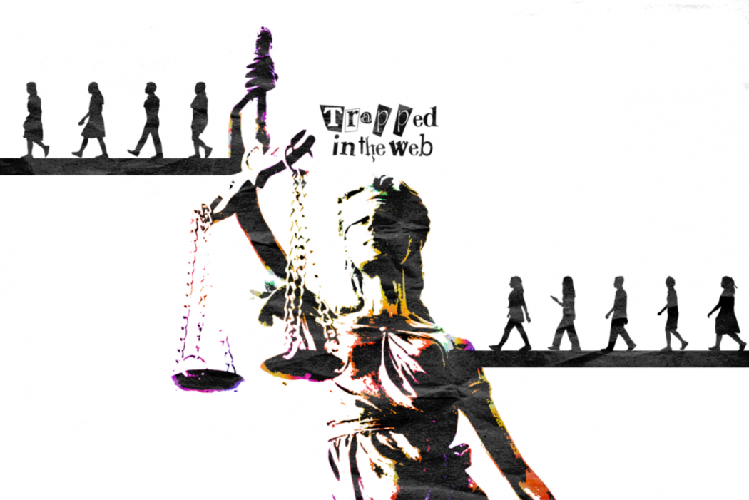 A justice scale with anonymous shadows walking across each scale, weighted very inequally.