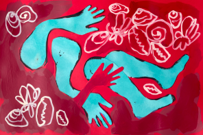 A red and turquoise acrylic painting depicting blue arms and legs in a pool of red water.
